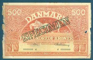Rare Denmark Specimen 500 Kroner Pick 41d 1948 Prefix D, Riim, Danmark