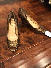 Cole Haan Woven Gold Peep Toe Heels, Size 7