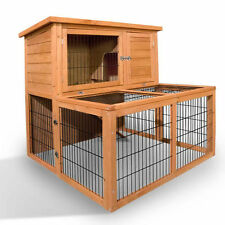 Rabbit Hutch Chicken Coop Guinea Pig Ferret Cage Hen House 2 Storey Run 8002s