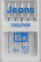 5 Qualitäts Nähmaschinennadeln 130/705 JEANS 90 Jeansnadel Flachkolben (0,79€/1S