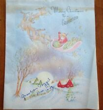 "Vintage 1940's J.S. Pub Corp ""Merry Christmas to a GRANDSON"" Card T-4304"