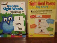"2 Sight Words Charts 20x 15"" Scholastic PreK to Kindergarten CD Books Dry Erase"