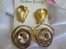 Vintage Norma Jean Crystal Rivoli Rhinestone Gold-tone 2 pair Earrings Jewelry