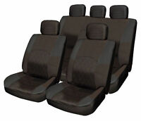 ALL Black Cloth Seat Cover Full Set Shoulder Set Split Rear fits Hyundai i10 i20