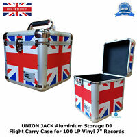 "2 UNION JACK Aluminium Storage DJ Flight Carry Case for 100 LP Vinyl 7"" Records"