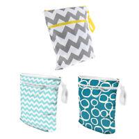 Reusable Waterproof Dry Diaper Bag Double Pocket Cloth Handle Wet Bags