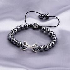 Hot Men Zircon Coral Crown Helmet Hematite Bead Macrame Energy Healing Bracelets