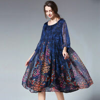Plus size Chiffon dresses loose Elegant dress high waist largest size long dress