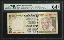India Republic, 2006 500 Rupees, #500000, PMG Ch. UNC 64 EPQ, Gandhi P# 99f Note