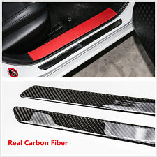 2pcs 49cm Carbon Fiber Car Scuff Plate Door Sill Cover Panel Step Protector