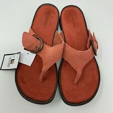 Predictions Womens Size 8.5 Thong Sandals Rose Pink Genuine Suede Leather Buckle