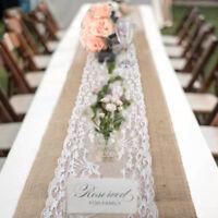 Hessian Lace Table Runners Runner Jute Burlap Sewed Edge 30x275cm Wedding FAM