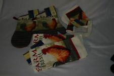 Rooster, 6 piece kitchen set, 2pot holders, 2 kitchen towels, 2 scrub wash cloth
