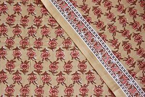 Brown 100% Cotton Ikat Batik Hand Block Printed Dress Material Craft Fabric