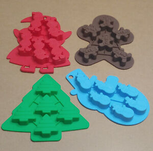 Lot of 4 Silicone Christmas Molds - Gingerbread Man, Snowman, Elf, Tree