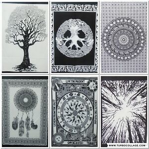 Tapestry Black & White Cotton Poster Bohemian Home Decor Wall Hanging Ethnic Art