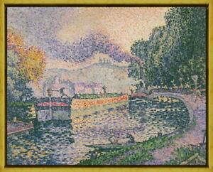 Framed Paul Signac The Tugboat Canal Giclee Canvas Print Paintings Poster