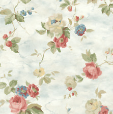 Watercolor Floral Romantic Pale Blue Red Pink White Green Double Roll Wallpaper