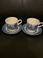🔵2 Blue Willow Johnson Brothers England Tea Cup And Saucer No Border? Churchill