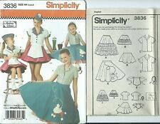 S 3836 sewing pattern COSTUME sew Car Hop Apron Hat Poodle Skirt sizes 3~6 UNCUT