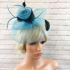 Chick Large Blue Black Flower Net Fascinator Headband Ascot Races Weddings