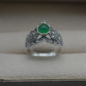 925 Sterling Silver Ring 14mm Round Green Chalcedony Ring Size: 5-10 NEW S925