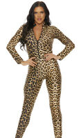 Sexy Forplay Leopard Print Zipfront Catsuit Jumpsuit Costume 115100