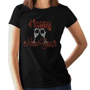 HAPPY NEW YEAR Ladies t shirt - Rhinestone Design - Christmas  Crystal Design