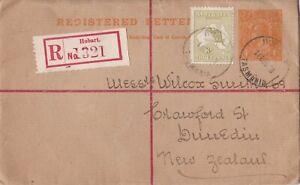 APS3019) Australia 1920 4d Orange KGV Registered envelope ACSC RE8 to Dunedin.