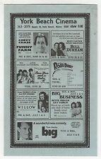 1988 YORK BEACH MAINE CINEMA Movie Promo Card BULL DURHAM Big ROGER RABBIT