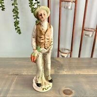 Vintage Flambro Old Man with Carrots On Tree Stump Figurine Collectible Decor
