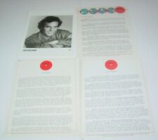 Julio Iglesias Original Vintage Press Release  + Photo 1980's Columbia Latin