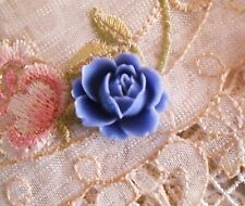 Cameo Rose Button~Vintage Cameo~Acrylic 19x21mm~Periwinkle Blue Wild Rose