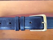 Coach Black Burnished Cowhide Leather Belt 5800 Solid Brass Buckle Mens 36 Italy
