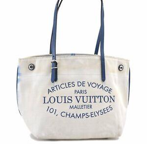 Auth Louis Vuitton Summer Collection 2014 Cabas PM Hand Bag M94504 Ivory E0277