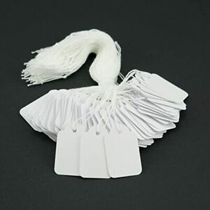 High Quality Pre Strung Tie-on Tags/Labels White Jewellery Gifts Various Sizes
