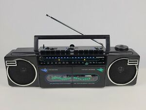Vintage Magnavox Boombox Moving Sound Dual Cassette & Radio D8077 Works Great