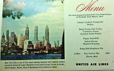 Vintage mid century paper United Air lines Dc 6 airplane postcard rppc menu