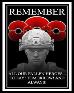 REMEMBRANCE DAY LEST WE FORGET POPPY POPPIES FALLEN HEROES METAL PLAQUE SIGN R58