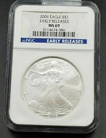 2006 1 OZ American 1oz .999 Silver Eagle Coin NGC MS69 Early Releases #2