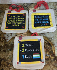 Small Canvas Teacher Quotes Bags Set Of 3