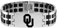 UNIVERSITY OKLAHOMA SOONERS OU  Stainless Steel Rubber Link Bracelet w/Logo NCAA