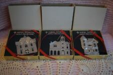 3 Kirk Stieff Pewter Ornaments Gothic Italian & Queen Anne Victorian Homes New
