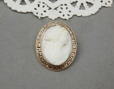"""Solid 10K Gold Cameo Pin Greek Goddess Key Motif Carved Shell Victorian 1 1/8"""""""