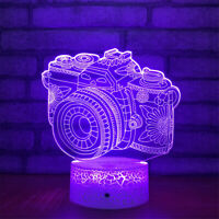 Camera 3D Night Light 7 Color Change LED Desk Lamp Touch Room Decor