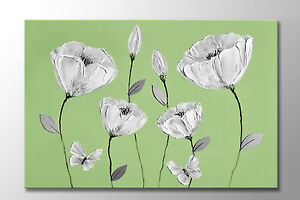 LARGE BEAUTIFUL CANVAS GREEN GREY WHITE FLOWERS BUTTERFLY ZEN PICTURE NEW PRINT