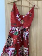 dfaddaa6fa2 Red Satin Floral Jumpsuit Womens Size 4 Pretty Summer Holiday Missguided  Asos