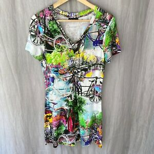 LIKE A BIRD Quirky Pretty Sights Bicycles SIZE 12 UK Short Sleeve T-Shirt Dress