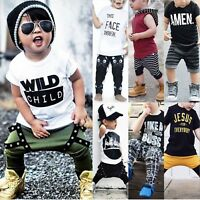 Toddler Kids Baby Boys Summer Casual Clothes T-shirt Tops Pants Outfits 2PCS Set