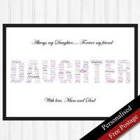 Daughter Personalised Gifts Word. Daughter Keepsake Gifts Art. PRINT ONLY